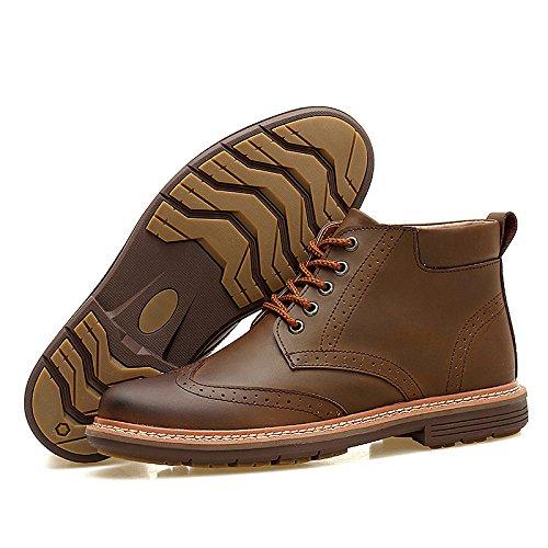 Nueva Inglaterra Martin botas botas de taxi masculina cachemira cosidos a mano de negocio de la moda de cuero de los hombres ocasionales con cordones de algodón brown shoes