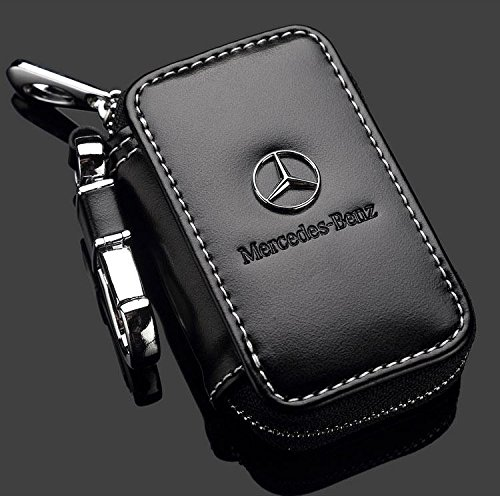 Mercedes benz black premium leather car key chain coin for Mercedes benz key holder