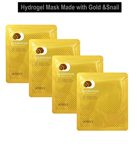 All In One Collagen Mask - Original Korean Hydrogel Gold Snail Mucin Mask: Enriched in Gold, Snail Mucin + Collagen, Petitfee All in One Mask Use as a Face and Eye Patch Masks: 4pcs Sheets Packaged in a FACIAL-MASK Gift Pack