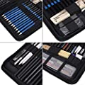 Zerone Drawing and Sketching Pencil Set, 48Pcs Sketching Art Kit with Sketch/Graphite/Charcoal/Pastel Pencils, Sharpener,Eraser,Sandpaper Block, A5 Painting Book and Zippered Carrying Case