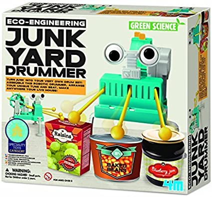 ECO-ENGINEERING JUNK YARD DRUMMER ROBOTIC DRUMMER /& SET GREEN SCIENCE KIT 4M
