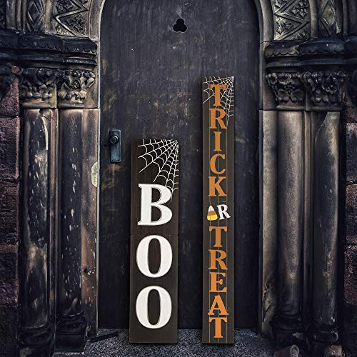 Glitzhome Halloween Door Decorations Trick or Treat Outdoor Halloween Decoration for Front Door Display Porch Sign Wood Hanging Sign for Halloween Party, 7.2×59.68]()