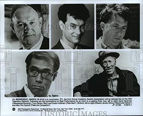 Historic Images - 1989 Press Photo Nominees for Best Actor in The 61st Annual Academy Awards.
