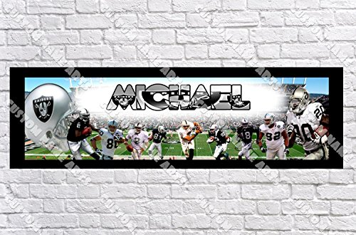 Raiders Door Oakland Mat (Personalized Oakland Raiders Banner - Includes Color Border Mat, With Your Name On It, Party Door Poster, Room Art Decoration - Customize)