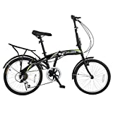 "Stowabike 20"" Folding City V3 Compact Foldable Bike – 6 Speed Shimano Gears Black"