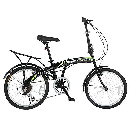 Stowabike 20' Folding City V3 Compact Foldable Bike - 6 Speed Shimano Gears Black