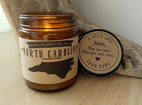 North Carolina Scented Candle Missing Home Homesick Gift Moving Gift New Home No Place Like Home State Candle Missing You Valentines Day Gift