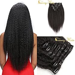 """Sunny 22"""" 7 Pieces 120g 100% Virgin Human Hair Afro Kinky Straight Clip in Extensions for Black Women Yaki Style Human Hair"""