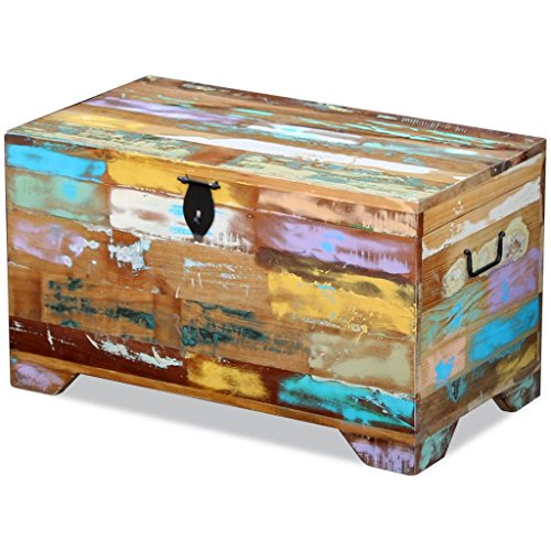 (Handmade Antique Storage Chest Solid Reclaimed Wood, Storage Bench for Entryway Home Organizers Furniture 28.7