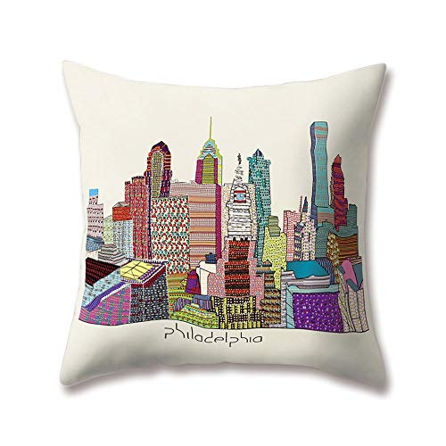 Hengjiang World City Glimpse Cushion Covers Hong Kong Chicago Philadelphia Paris 18x18/45x45cm Double-sided Throw Soft Plush Pillow Cases For Home Sofa Bed Decorative ()