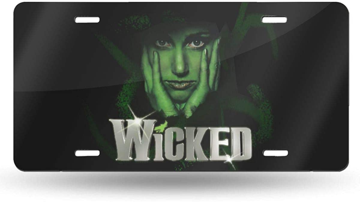 N//C Black Wicked The Musical V-Neck Decorative Car Front License Plate,Aluminum Metal License Plate,6 X 12