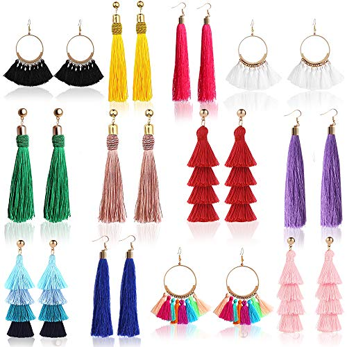 (Outee 12 Pairs Tassel Earrings Layered Long Thread Ball Dangle Earrings Bohemian Tiered Tassel Drop Earrings Fashion Jewelry for Women Girls Valentine Birthday Party Gifts)