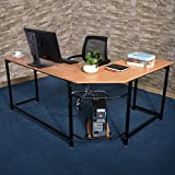 Water-chestnut L-Shaped PC Latop Desk Corner Computer Desk Table Workstation for Home Office (wooden color)