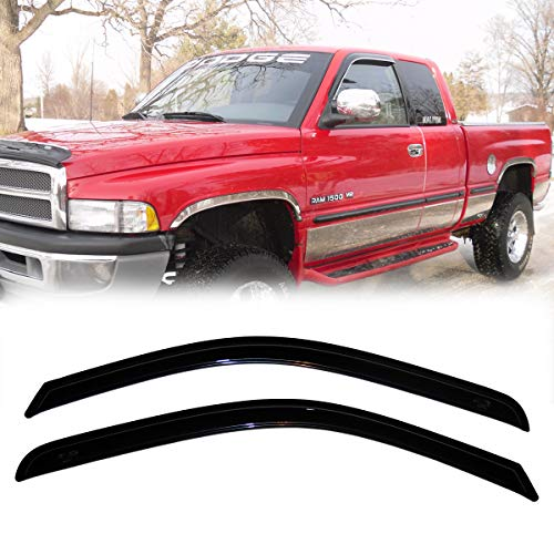 (Deebior 2pcs for Trucks Dodge Ram Regular/Standard Cab 2009-2018 Sun Rain Wind Guard Deflectors Window Visors)