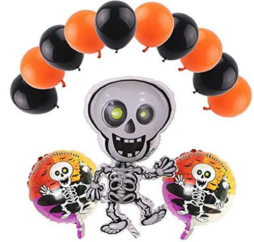 Dia de Los Muertos - conjunto de globos de Fiesta - The Day of The Dead - Party Balloon Set Decorations - Happy Skeleton Theme Set - Complete with Orange & Black Balloons - by Jolly Jon ® -