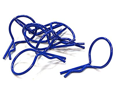 Integy Hobby RC Model C26247BLUE Color Bent-Up Body Clips (8) for 1/10 Scale RC Cars & Trucks (LxW=26x16mm)