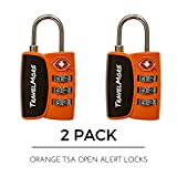 Open Alert Indicator TSA Approved 3 Digit Luggage Locks for Travel Suitcase & Baggage - 2 Pack Orange TSA Lock