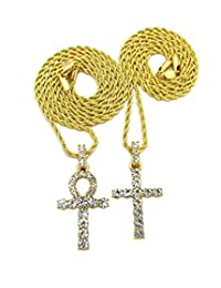 """Mens Hip Hop Egyptian Iced Out Key of Life Ankh Cross Pendant 20"""",24"""",27"""", 30"""" Chain 2 Necklace Set Gold"""