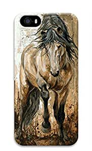 3D Hard Plastic Case for iPhone 5 5S 5G,Running Horse Painting Case Back Cover for iPhone 5 5S