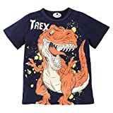 Sixcup Little Kids Boys Summer Short Sleeve Pullover Sweatshirts Dinosaur Printed T-Shirt Kids Polo Casual Cotton Tops Shirt Clothes Tee for 1-6 Years Old (4-5 Years Old, Dark Blue)