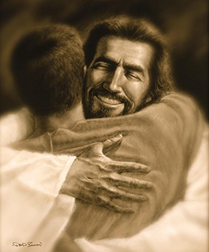Home - Wall Art Print Jesus Christ Welcome Home Hug by David Bowman Religious Spiritual Christian Fine Art (plaque 8