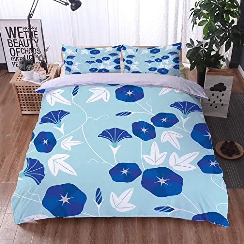 HOOMORE Bed Comforter - 3-Piece Duvet -All Season, Seamless Pattern of Morning Glory,HypoallergenicDuvet-MachineWashable -Twin-Full-Queen-King-Home-Hotel -School