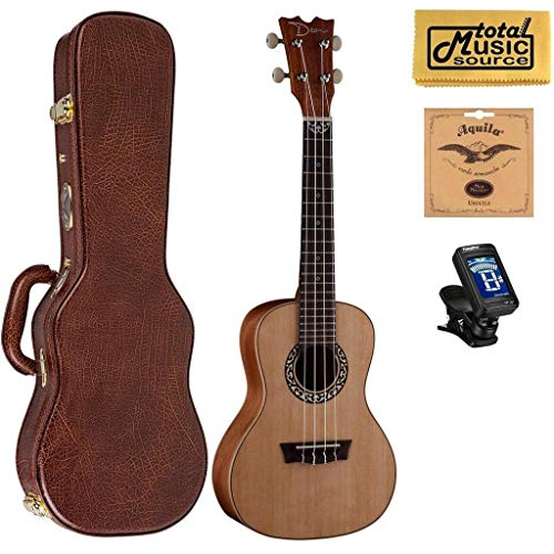 Dean Guitars Concert Spruce Ukulele, Satin Natural w/Hard Case,Tuner,Strings & PC