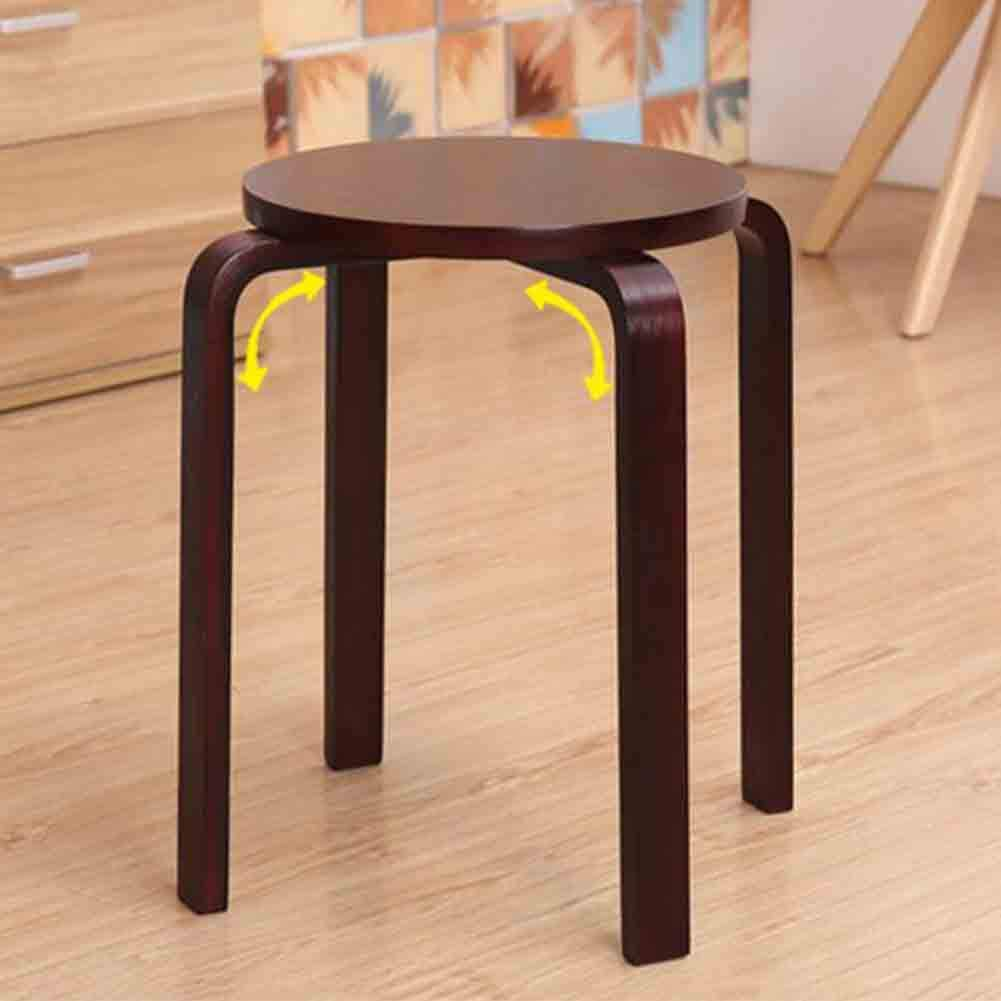 MLMHLMR Water-Based Paint Solid Wood Stool Household Stackable Dining Table Stool Small Bench Chair (Color : Coffee Color)