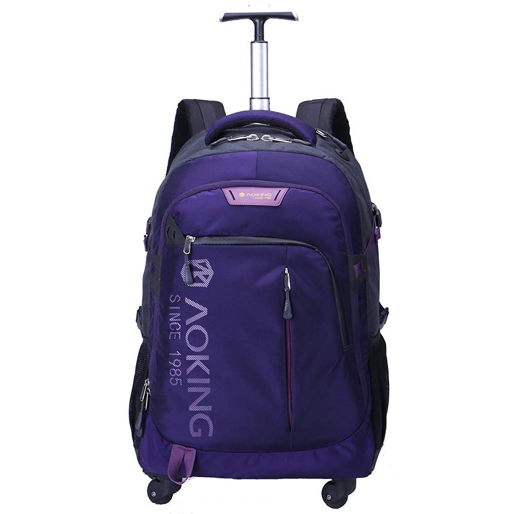 AOKING 20/22 Inch Water Resistant Travel School Business Rolling Wheeled Backpack with Laptop Compartment Bag (20 inch, Purple) by AOPMGOE