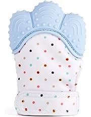 elegantstunning Baby Gum Teether Toy Cartoon Gloves Teething Toy Toddler Infant Dental Halloween Christmas Gift Bags for Kids Blue