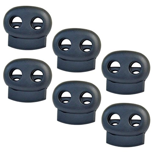 10 Pcs Cord Locks, Bantoye Plastic End Spring Stop Toggle Stoppers for Paracord, Shock Cord, Bungee, Drawstrings (Double Hole, Black)