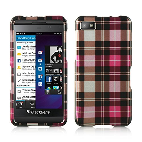 (Dream Wireless CABBLAHPCK Slim and Stylish Design Case for BlackBerry Z10 - Retail Packaging - Hot Pink Checker)