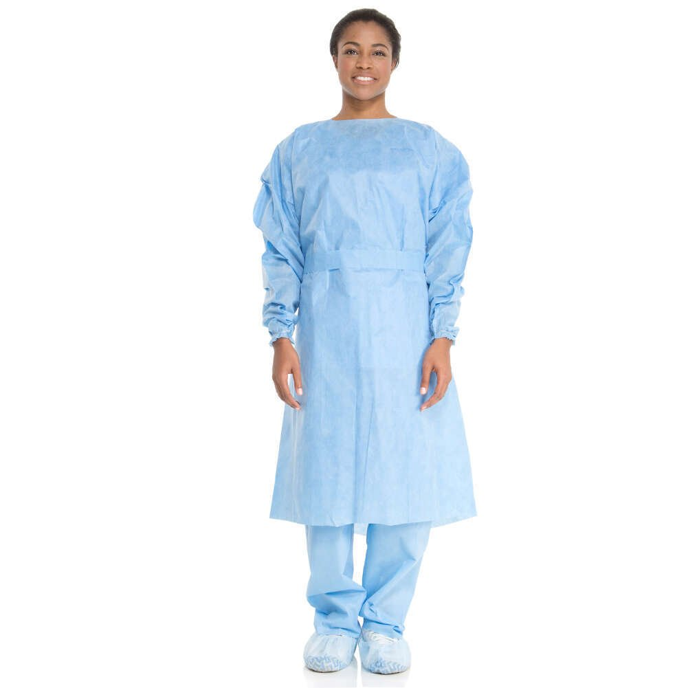 HALYARD Isolation Gowns, Disposable, 3-Layer SMS, Universal, Blue 69981 (Case of 100)