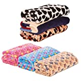 Fund Coral Fleece Blanket Star Print Assorted Color Dog Cat Warm Bed Mat Print Cushion (S(40X60CM), Pink Star)