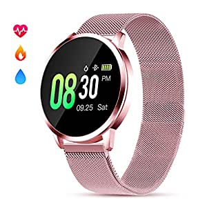 Smartwatch Mujer Rosa Impermeable Reloj Inteligente Elegante Fitness con Monitor Impermeable IP67 con Monitor de Sueño Pulsómetros Podómetro Contador ...