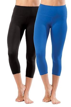 "a26a506a64 90 Degree By Reflex Yogalicious 22"" High Waist Yoga Capris - Black and  Lapis Blue"