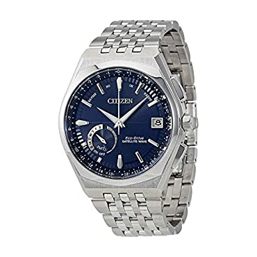 Citizen Eco-Drive Satellite Wave World Time GPS Silver-Tone Mens Watch