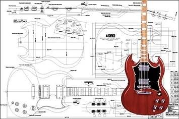 Plan de Gibson SG guitarra eléctrica - escala completa impresión: Amazon.es: Instrumentos musicales