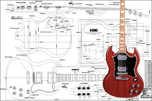 Plan of Gibson SG Electric Guitar - Full Scale Print for sale  Delivered anywhere in Canada