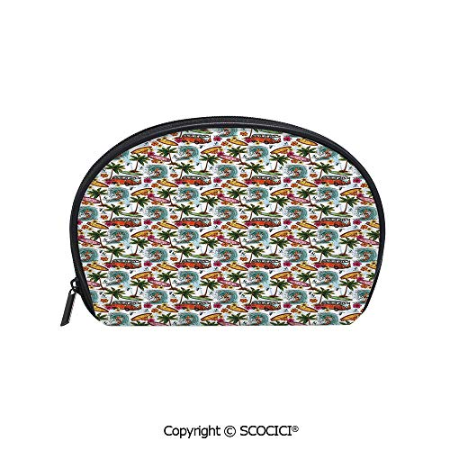 (SCOCICI Printed Small Size Storage Makeup Bag Surf Themed Image Vintage Van and Flower Arrangement Seagulls Action Hobby Decorative for Women Girl Ladies)