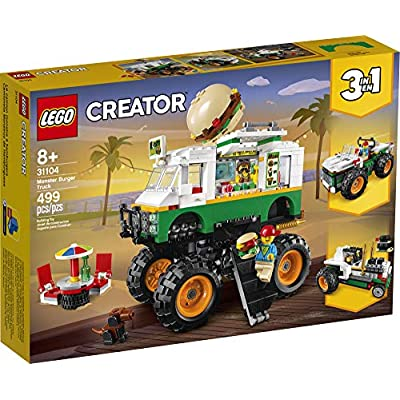 LEGO Creator 3in1 Monster Burger Truck 31104 Building Kit, Cool Buildable Toy for Kids, New 2020 (499 Pieces): Toys & Games