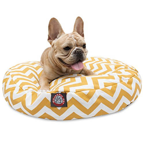 Yellow Chevron Small Round Indoor Outdoor Pet Dog Bed With Removable Washable Cover By Majestic Pet Products