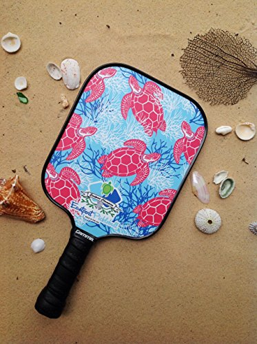 Eastport Pickleball Paddle, USAPA Approved, Pink Turtle in Blue Sea - Pickleball's Poshest Paddle by Eastport Pickleball