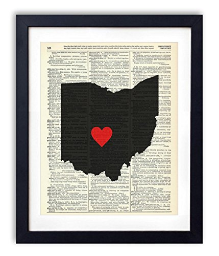 Ohio Capital With Heart Upcycled Vintage Dictionary Art Print 8×10