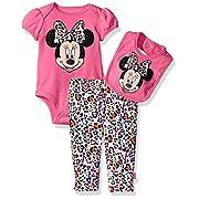 Disney Baby Girls' Minnie Mouse 3 Piece Soft Bodysuit, Bright Pink, 0-3 Months