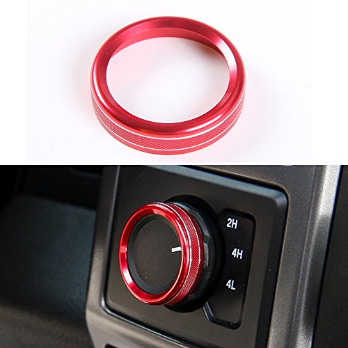 (Aluminum Alloy 4X4 4WD Switch Knob Ring Cover Frame Trim for Ford F150 2016 2017 (4X4 Knob Cover Red))