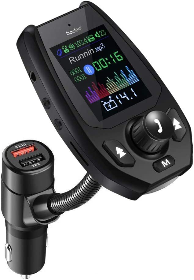 Transmisor FM Bluetooth, bedee Transmisor Bluetooth Coche 5.0, Reproductor MP3 Coche Mechero Adaptador de Coche con Función Manos Libres Carga Rápida QC 3.0, 1.8