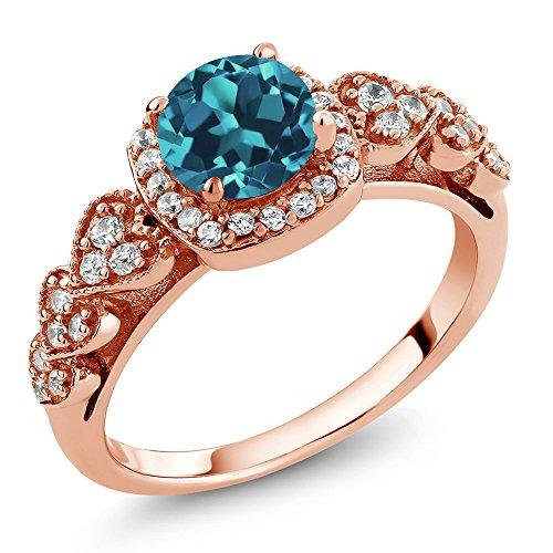 Gem Stone King 18K Rose Gold Plated Silver London Blue Topaz Ring 1.07 Ctw Round Gemstone Birthstone (Size 6)