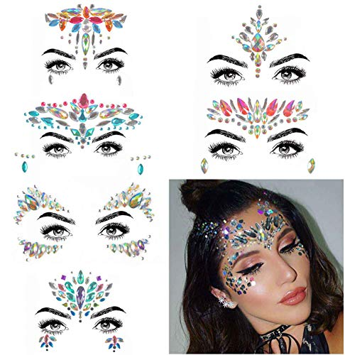 COKOHAPPY 6 Sets Rhinestone Mermaid Face Jewels Tattoo - BODY STICKERS Crystal Tears Gem Stones Bindi Temporary Stickers (Collection 1)]()