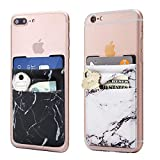 Marble Cell Phone Stick On Wallet Card Holder Phone Pocket iPhone,Android All Smartphones 2Pack(Black/White)